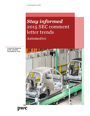 Automotive: 2015 SEC comment letter trends cover