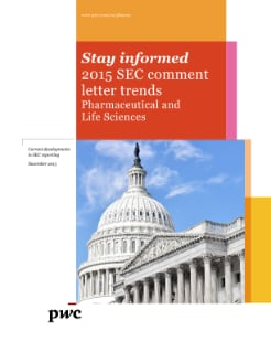 Pharmaceutical and Life Sciences: 2015 SEC comment letter trends cover