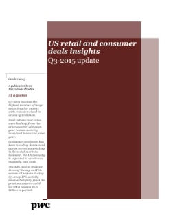 US retail and consumer deals insights: 2015 year in review and 2016 outlook cover