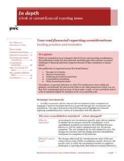 In depth: Year-end financial reporting considerations cover