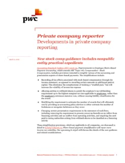 Private company reporter: New stock comp guidance includes nonpublic entity practical expedients cover
