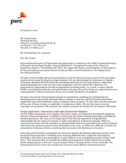 PwC's response to the FASB's proposed Conceptual Framework - Presentation  11/09/16  Read PwC's comment letter on the Board's proposed updates to the presentation chapter of the conceptual framework.