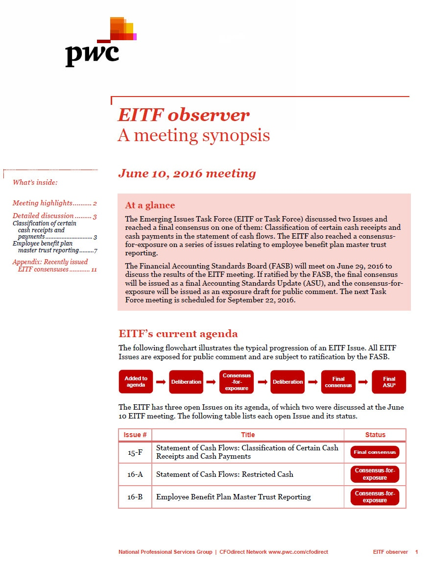 EITF observer - A meeting synopsis - June 10, 2016 meeting