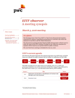 EITF observer - A meeting synopsis - March 3, 2016 meeting
