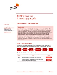 EITF observer - A synopsis of the November 17th EITF meeting