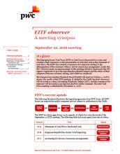 EITF observer - A meeting synopsis of the September 22nd EITF meeting