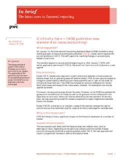 In brief: It's finally here - IASB publishes new standard on lease accounting! cover