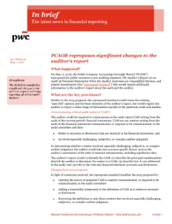 In brief: PCAOB reproposes significant changes to the auditor's report cover