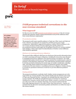 In brief: FASB proposes technical corrections to the new revenue standard cover