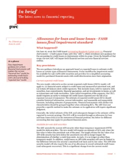 In brief: In brief: Allowance for loan and lease losses – FASB issues final impairment standard