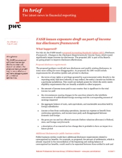 In brief: FASB issues exposure draft as part of income tax disclosure framework cover