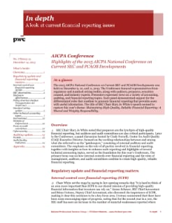In depth: Highlights of the 2015 AICPA National Conference on Current SEC and PCAOB Developments cover