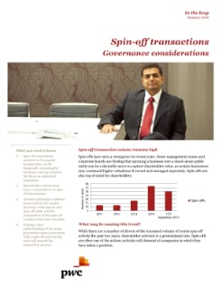 Spin-off transactions - Governance considerations cover
