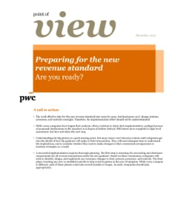 Point of view: Preparing for the new revenue standard - Are you ready cover