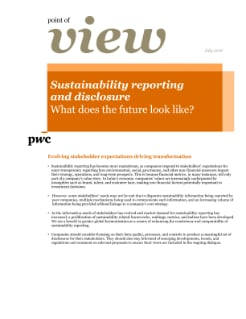 Point of view: Sustainability reporting and disclosure - What does the future look like? cover