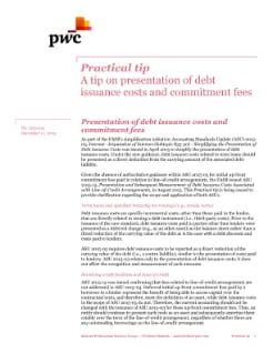 Presentation of debt issuance costs and commitment fees cover