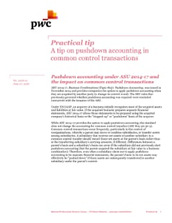 Practical tip: Pushdown accounting in common control transactions cover