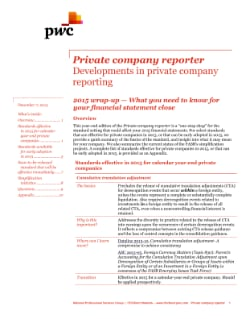 Private company reporter: 2015 wrap-up – What to know for your financial statement close cover