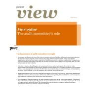 Fair value - The audit committee's role cover