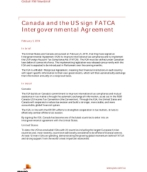Canada and the US sign FATCA Intergovernmental Agreement