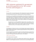 IRS releases updated QI agreement providing guidance for QIs under FATCA and Chapter 3