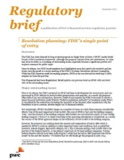 Resolution planning: FDIC's single point of entry