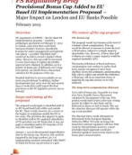 Provisional Bonus Cap Added to EU Basel III Implementation Proposal - Major Impact on London and EU Banks Possible