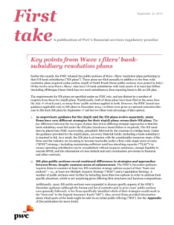 Wave 1 filers' bank-subsidiary resolution plans