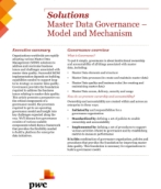 Master data governance - Model and mechanism: PwC
