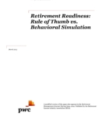 Retirement readiness: Rule of thumb vs. behavioral simulation