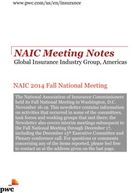 NAIC Meeting Notes, Fall 2014