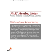 NAIC Spring 2015 National Meeting Notes