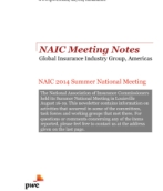 NAIC Meeting Notes, Summer 2014
