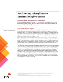 Positioning microfinance institutions for success