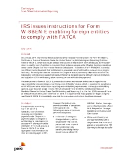 IRS instructions for Form W-8BEN-E: PwC