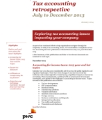 Tax accounting retrospective (July - December 2013)