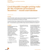 Tax Controversy and Regulatory Services: Czech Republic transfer pricing rules for the recipients of investment incentives — recent court decision