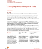 Tax Insights from Transfer Pricing: Italy: Changes made to Italian tax law impacting transfer pricing