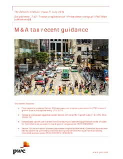 What happened this month in M&A tax?