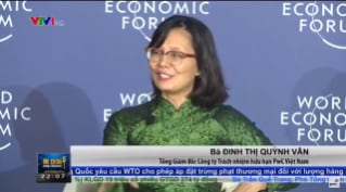 Dinh Thi Quynh Van at PwC's press briefing at WEF ASEAN 2018